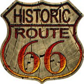 Historic Route 66 Wood Highway Shield Novelty Metal Magnet