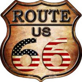 Route 66 American Flag Highway Shield Novelty Metal Magnet