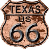 Route 66 Texas Rusty Metal Highway Shield Novelty Metal Magnet