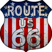 Route 66 American Flag Metal Highway Shield Novelty Metal Magnet