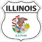 Illinois State Flag Highway Shield Novelty Metal Magnet