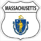 Massachusetts State Flag Highway Shield Metal Sign