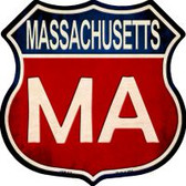 Massachusetts Highway Shield Novelty Metal Magnet