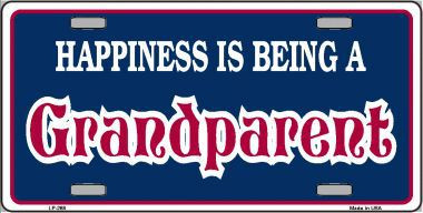 Happiness Being Grandparent Metal Novelty License Plate LP-268