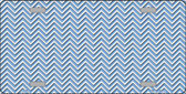 Light Blue White Chevron Metal Novelty License Plate LP-2697