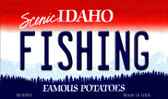Fishing Idaho State Background Metal Novelty Magnet