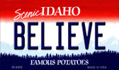 Believe Idaho State Background Metal Novelty Magnet