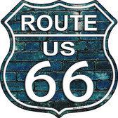 Route 66 Blue Brick Wall Highway Shield Novelty Metal Magnet