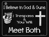 I Believe In God and Guns Metal Novelty Parking Sign