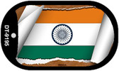 "India Country Flag Scroll Dog Tag Kit 2"" Metal Novelty"