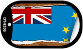 "Tuvalu Country Flag Scroll Dog Tag Kit 2"" Metal Novelty"