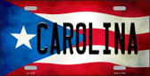 Carolina Puerto Rico Flag Background License Plate Metal Novelty