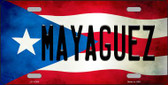 Mayaguez Puerto Rico Flag Background License Plate Metal Novelt