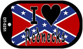 I Love Rednecks Dog Tag Kit Novelty Necklace
