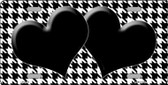 White Black Houndstooth With Black Center Hearts Metal Novelty License Plate