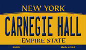 Carnegie Hall New York State License Plate Magnet M-8954
