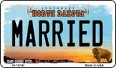 Married North Dakota State License Plate Magnet M-10740