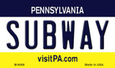 Subway Pennsylvania State License Plate Magnet M-6086