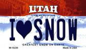 I Love Snow Utah State License Plate Magnet M-10236
