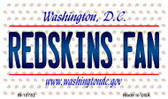 Redskins Fan Washington DC State License Plate Magnet M-10782