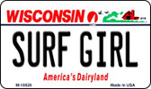 Surf Girl Wisconsin State License Plate Novelty Magnet M-10629