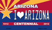 I Love Arizona Arizona Centennial State License Plate Magnet M-1841