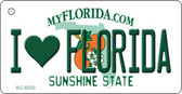 I Love Florida State License Plate Key Chain KC-6032