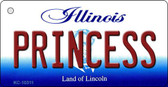 Princess Illinois State License Plate Key Chain KC-10311
