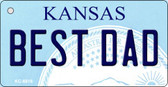 Best Dad Kansas State License Plate Novelty Key Chain KC-6616