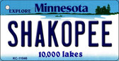 Shakopee Minnesota State License Plate Novelty Key Chain KC-11046