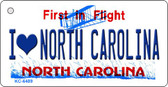 I Love North Carolina State License Plate Key Chain KC-6489