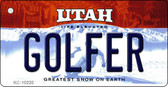Golfer Utah State License Plate Key Chain KC-10220