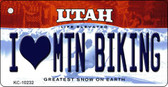 I Love Mtn Biking Utah State License Plate Key Chain KC-10232