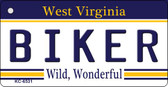 Biker West Virginia License Plate Key Chain KC-6531