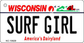 Surf Girl Wisconsin License Plate Novelty Key Chain KC-10629