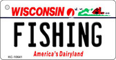 Fishing Wisconsin License Plate Novelty Key Chain KC-10641