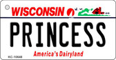 Princess Wisconsin License Plate Novelty Key Chain KC-10648