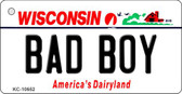 Bad Boy Wisconsin License Plate Novelty Key Chain KC-10652
