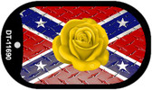 Confederate Yellow Rose Dog Tag Novelty Necklace DT-11690