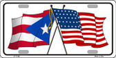 Puerto Rico Crossed US Flag License Plate