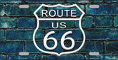 Route 66 Blue Brick Wall Novelty License Plate LP-11456