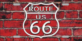 Route 66 Red Brick Wall Novelty License Plate LP-11458