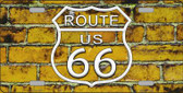 Route 66 Yellow Brick Wall Novelty License Plate LP-11459