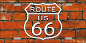 Route 66 Orange Brick Wall Novelty License Plate LP-11461