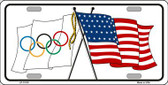 Olympic Crossed US Flag License Plate LP-11519