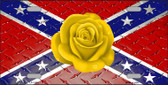 Confederate Flag With Yellow Rose Novelty License Plate LP-11690