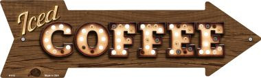 Iced Coffee Bulb Letters Novelty Arrow Sign A-512