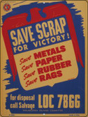 Save Scraps for Victory Vintage Poster Parking Sign P-1938