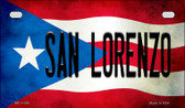 San Lorenzo Puerto Rico Flag Motorcycle License Plate Metal Novelty MP-11380