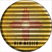 New Mexico Flag Corrugated Effect Novelty Circular Sign C-941